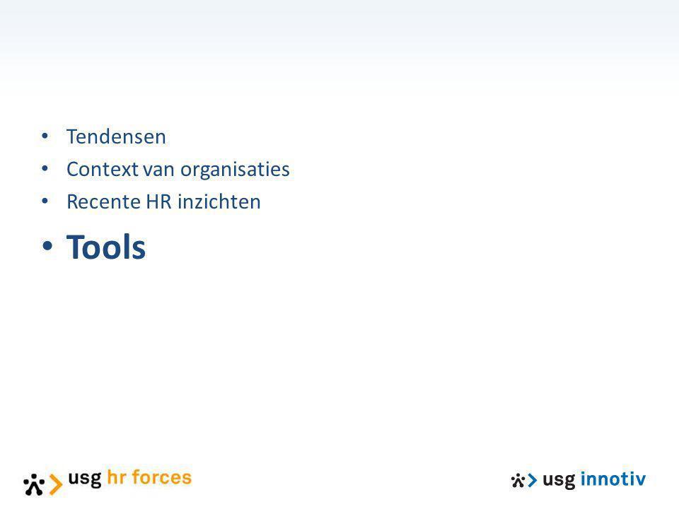 Tendensen Context van organisaties Recente HR inzichten Tools