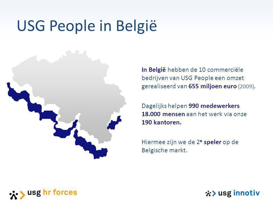 USG People in België In België hebben de 10 commerciële bedrijven van USG People een omzet gerealiseerd van 655 miljoen euro (2009).