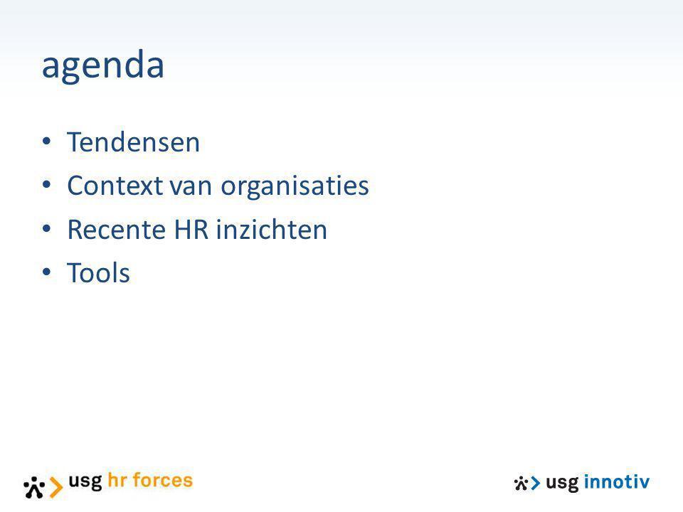 agenda Tendensen Context van organisaties Recente HR inzichten Tools