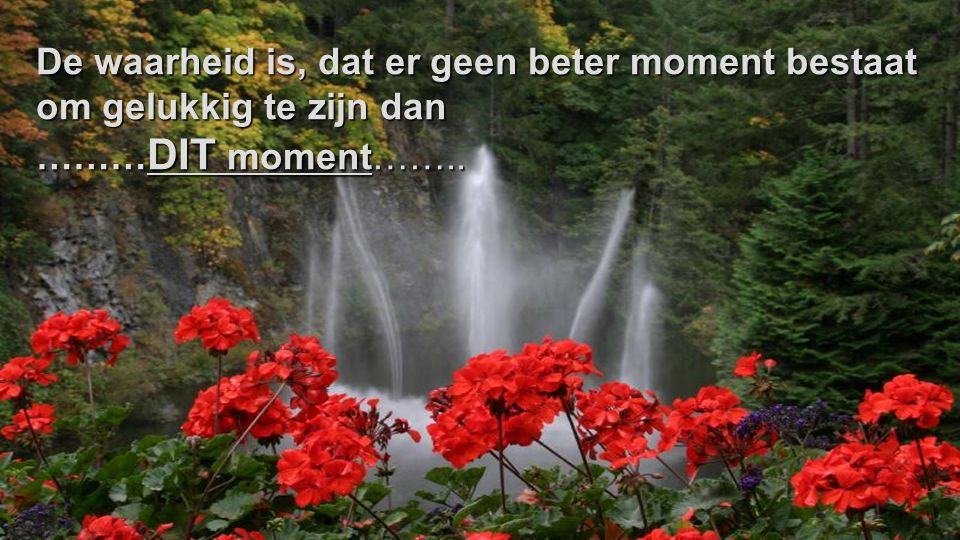 De waarheid is, dat er geen beter moment bestaat om gelukkig te zijn dan
