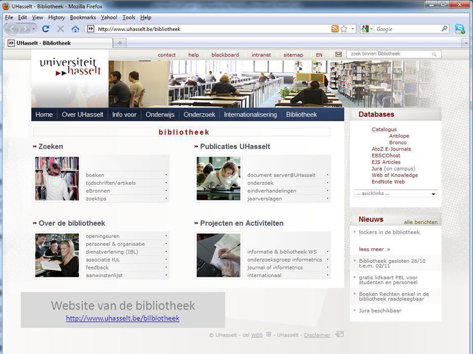 Website van de bibliotheek http://www.uhasselt.be/bilbiotheek