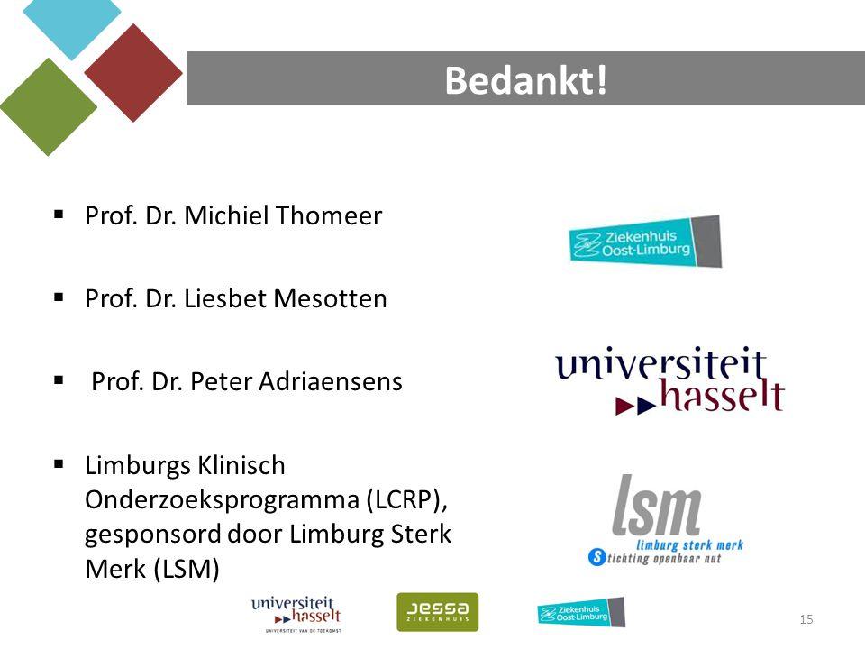 Bedankt! Prof. Dr. Michiel Thomeer Prof. Dr. Liesbet Mesotten