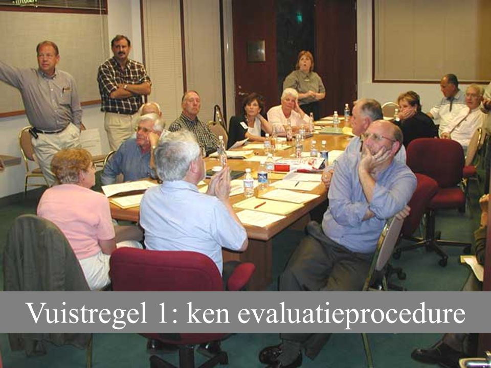 Vuistregel 1: ken evaluatieprocedure