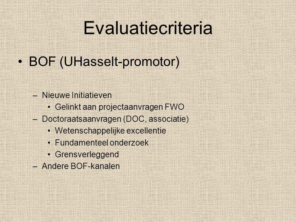 Evaluatiecriteria BOF (UHasselt-promotor) Nieuwe Initiatieven