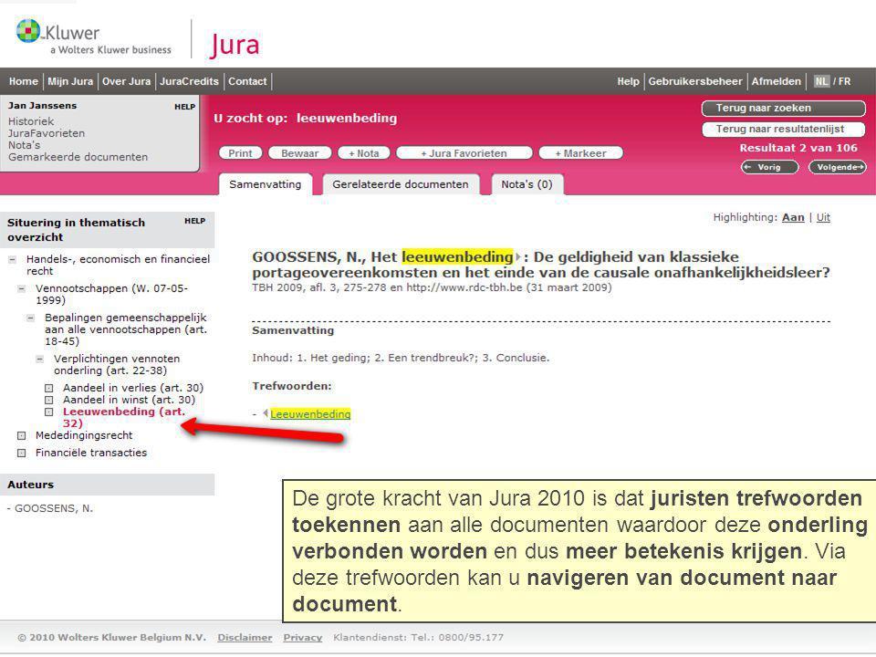 De grote kracht van Jura 2010 is dat juristen trefwoorden
