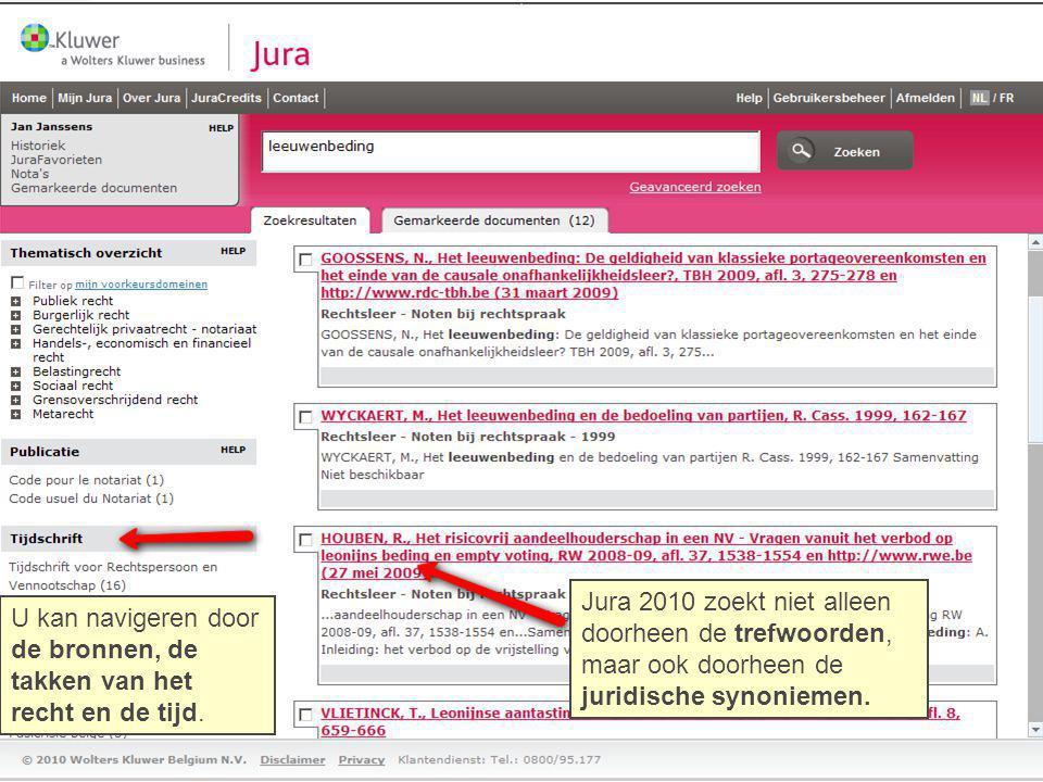 Jura 2010 zoekt niet alleen doorheen de trefwoorden,