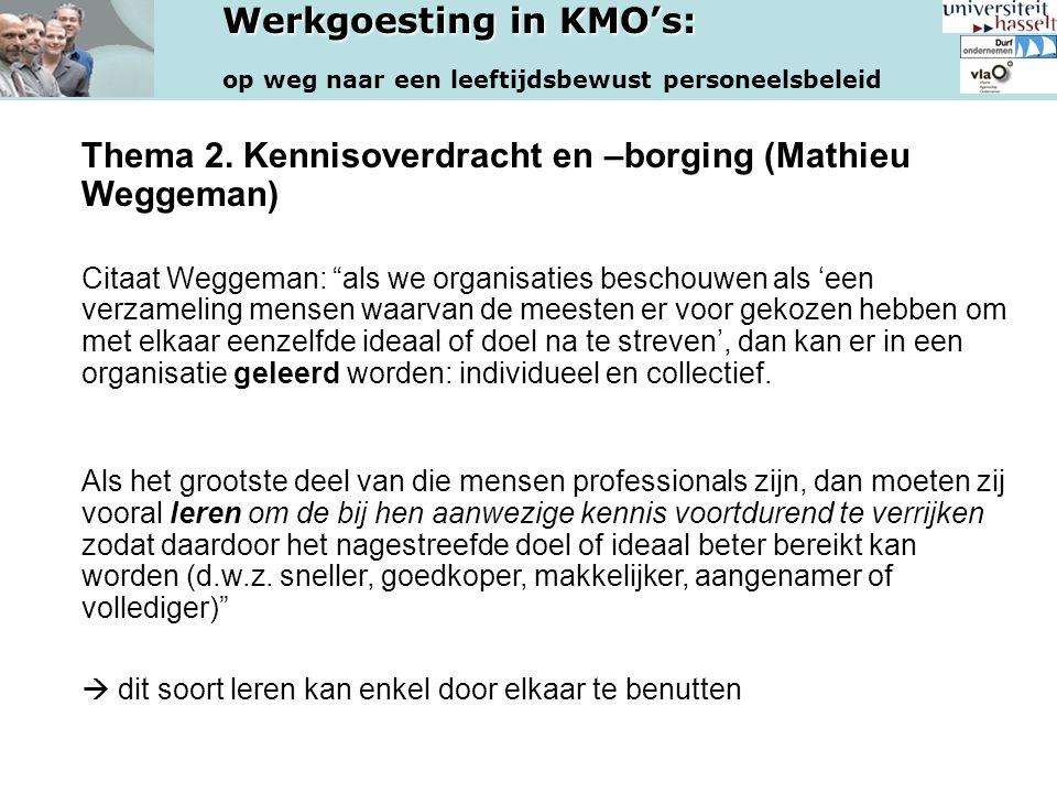 Thema 2. Kennisoverdracht en –borging (Mathieu Weggeman)