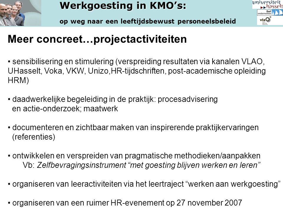 Meer concreet…projectactiviteiten