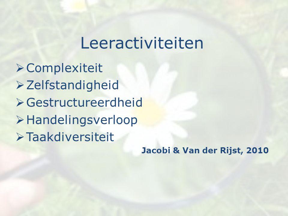 Leeractiviteiten Complexiteit Zelfstandigheid Gestructureerdheid