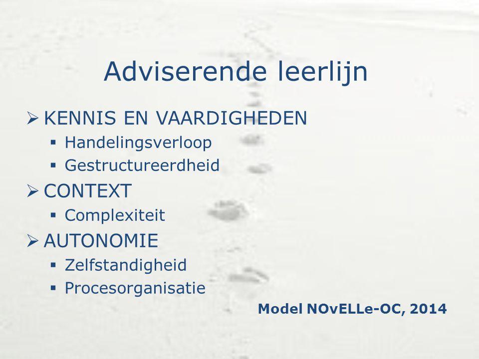 Adviserende leerlijn KENNIS EN VAARDIGHEDEN CONTEXT AUTONOMIE