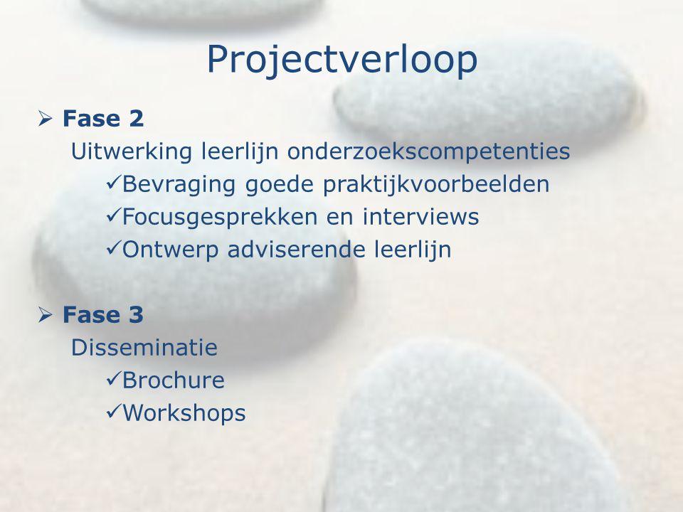 Projectverloop Fase 2 Uitwerking leerlijn onderzoekscompetenties