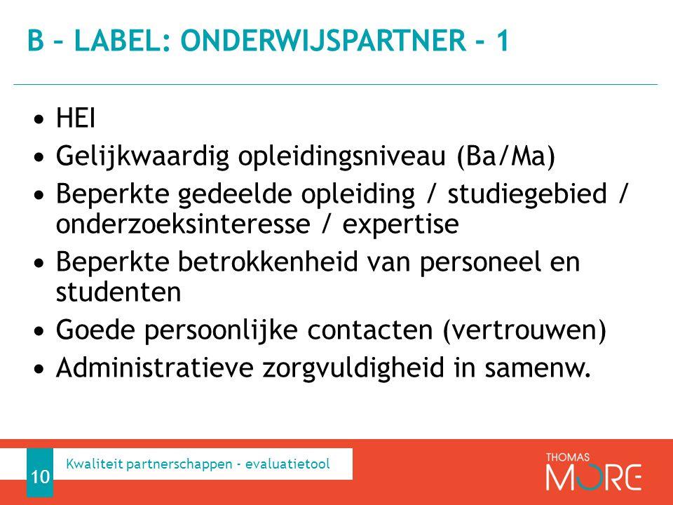 B – label: onderwijspartner - 1