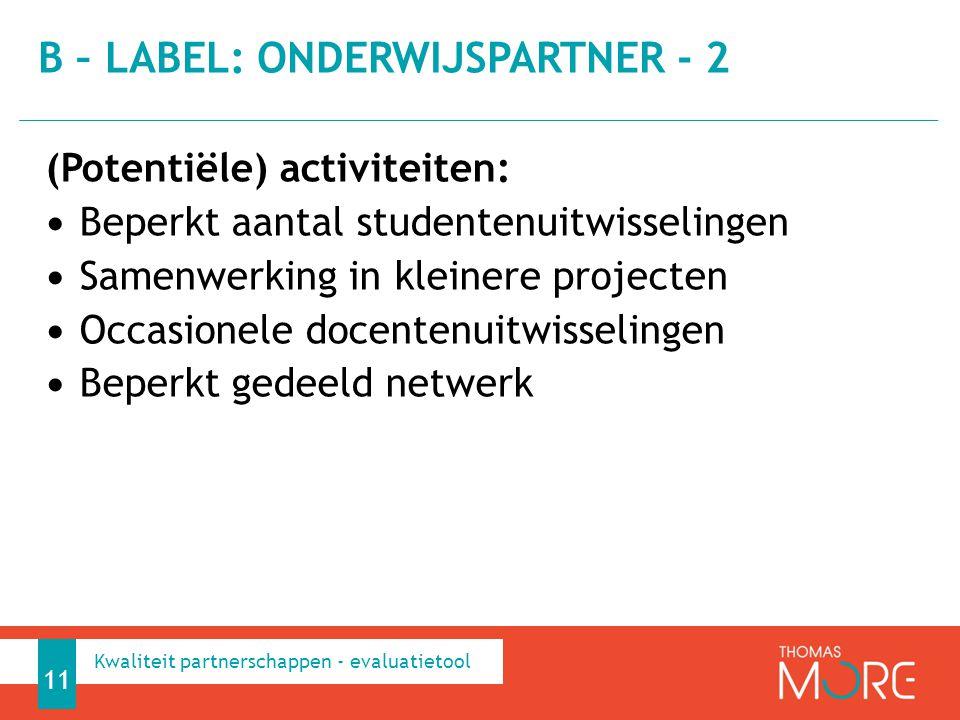 B – label: onderwijspartner - 2
