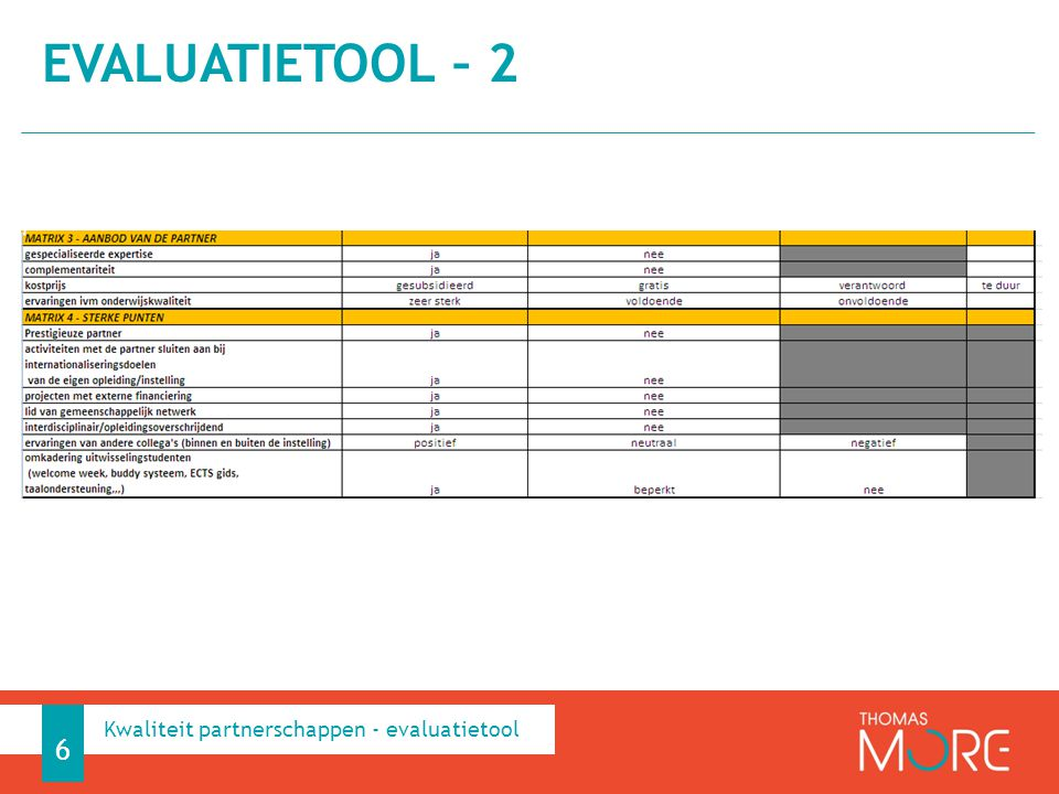 Evaluatietool – 2 Kwaliteit partnerschappen - evaluatietool