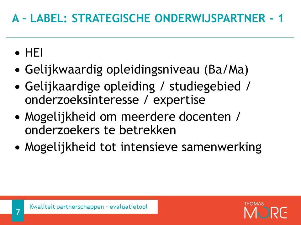 A – label: strategische onderwijspartner - 1