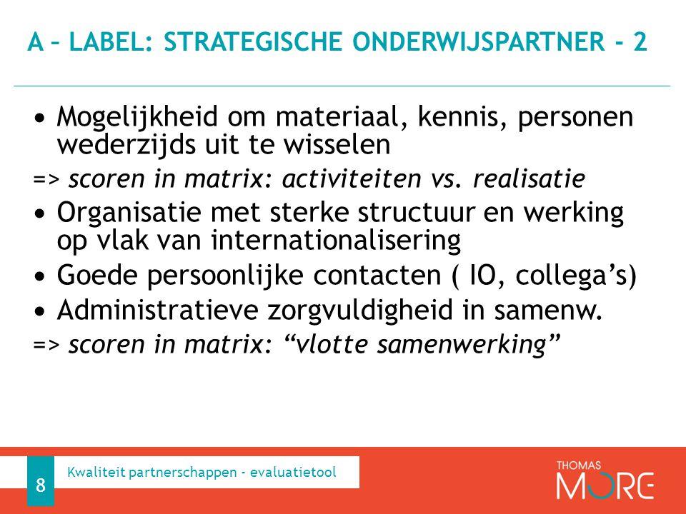 A – label: strategische onderwijspartner - 2