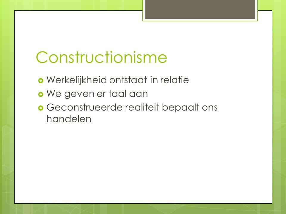 Constructionisme Werkelijkheid ontstaat in relatie