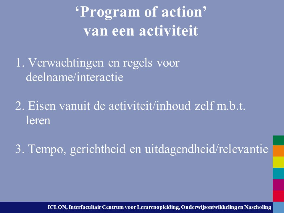 'Program of action' van een activiteit