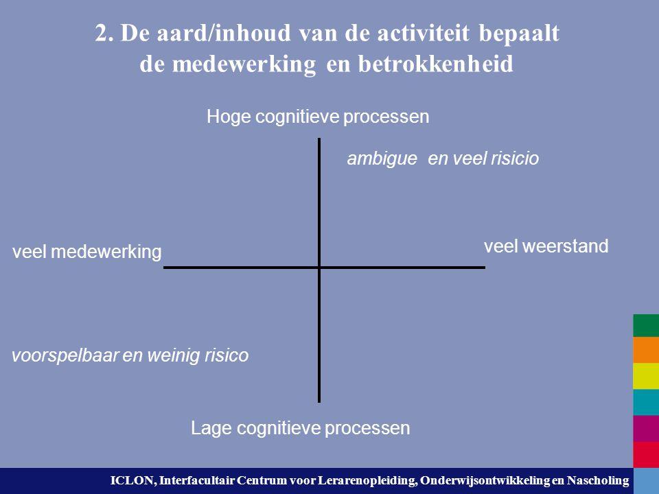 2. De aard/inhoud van de activiteit bepaalt de medewerking en betrokkenheid