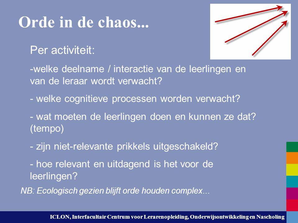 Orde in de chaos... Per activiteit: