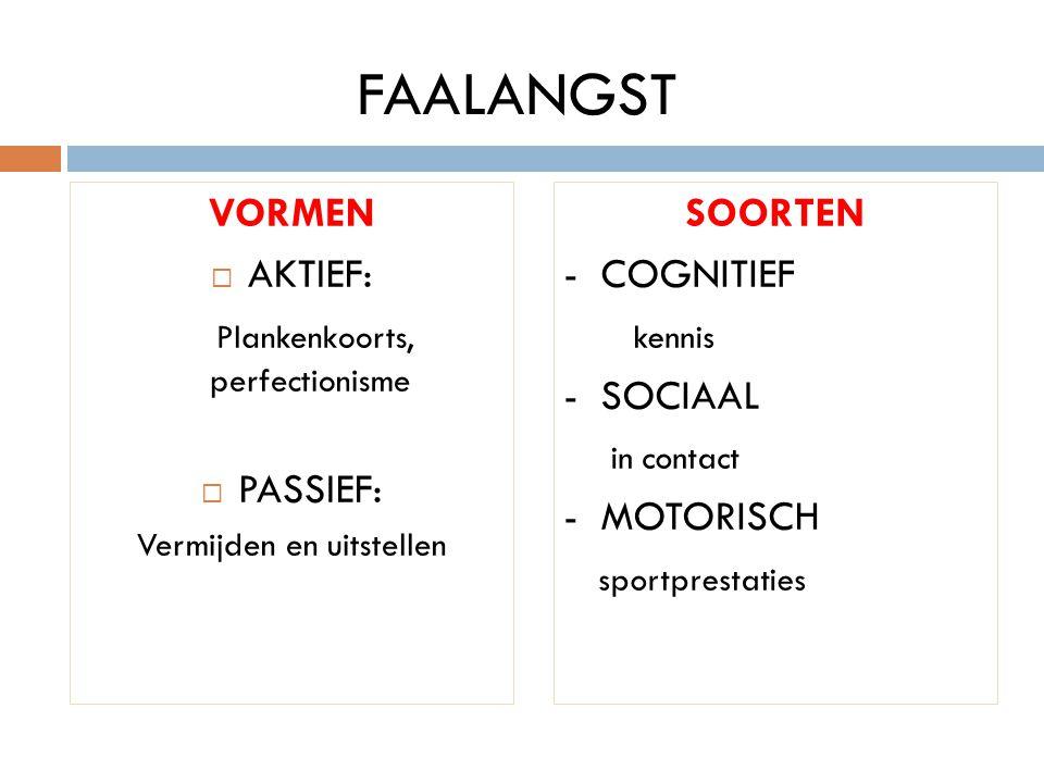 FAALANGST VORMEN AKTIEF: Plankenkoorts, perfectionisme PASSIEF: