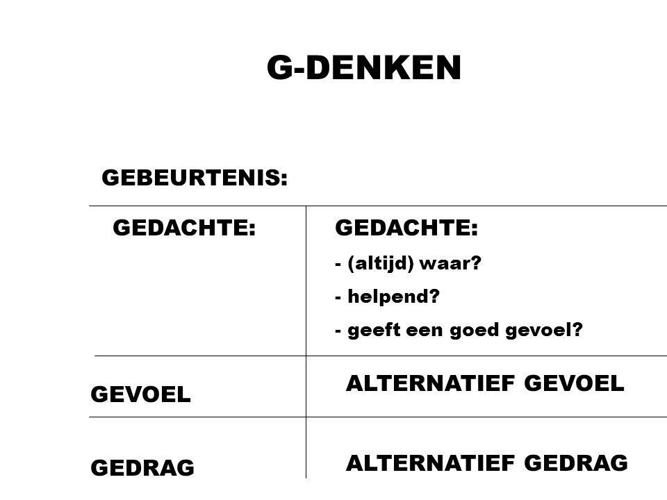 G-DENKEN GEBEURTENIS: GEDACHTE: GEDACHTE: ALTERNATIEF GEVOEL