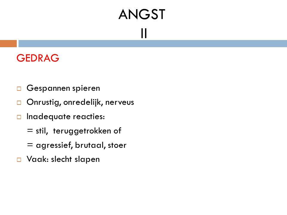 ANGST II GEDRAG Gespannen spieren Onrustig, onredelijk, nerveus