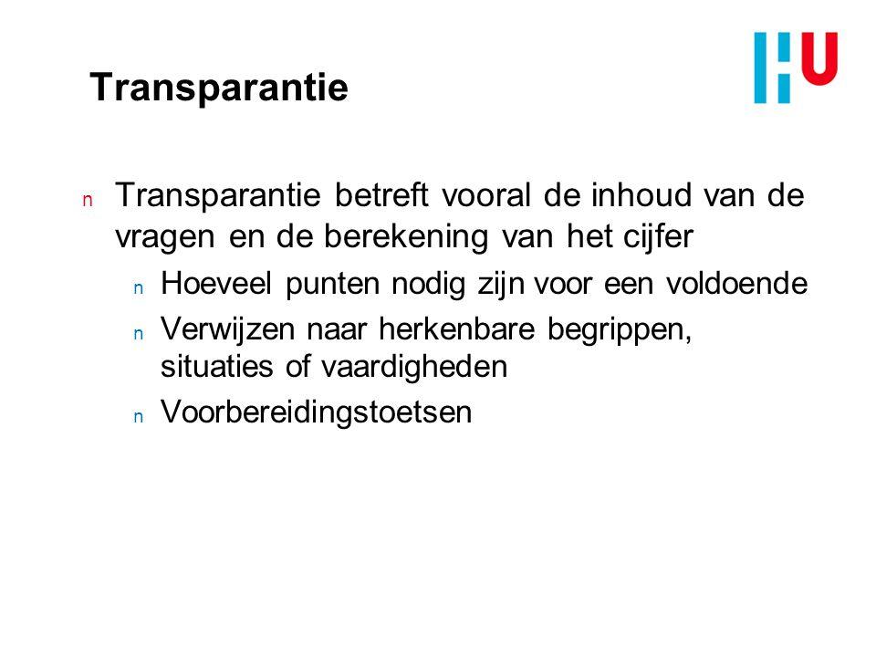 xxxxxxxxxxxxxxx 4/5/2017. Transparantie. Transparantie betreft vooral de inhoud van de vragen en de berekening van het cijfer.