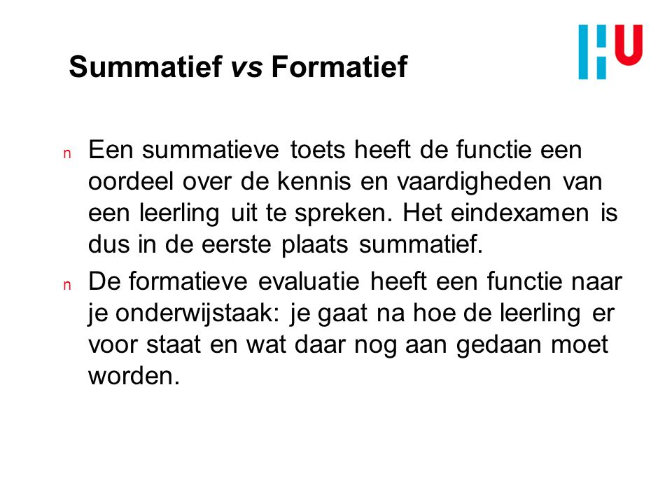 Summatief vs Formatief