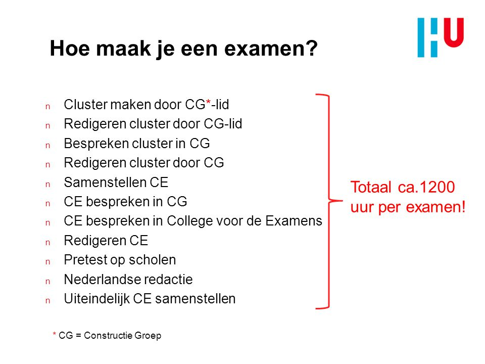 Hoe maak je een examen Totaal ca.1200 uur per examen!