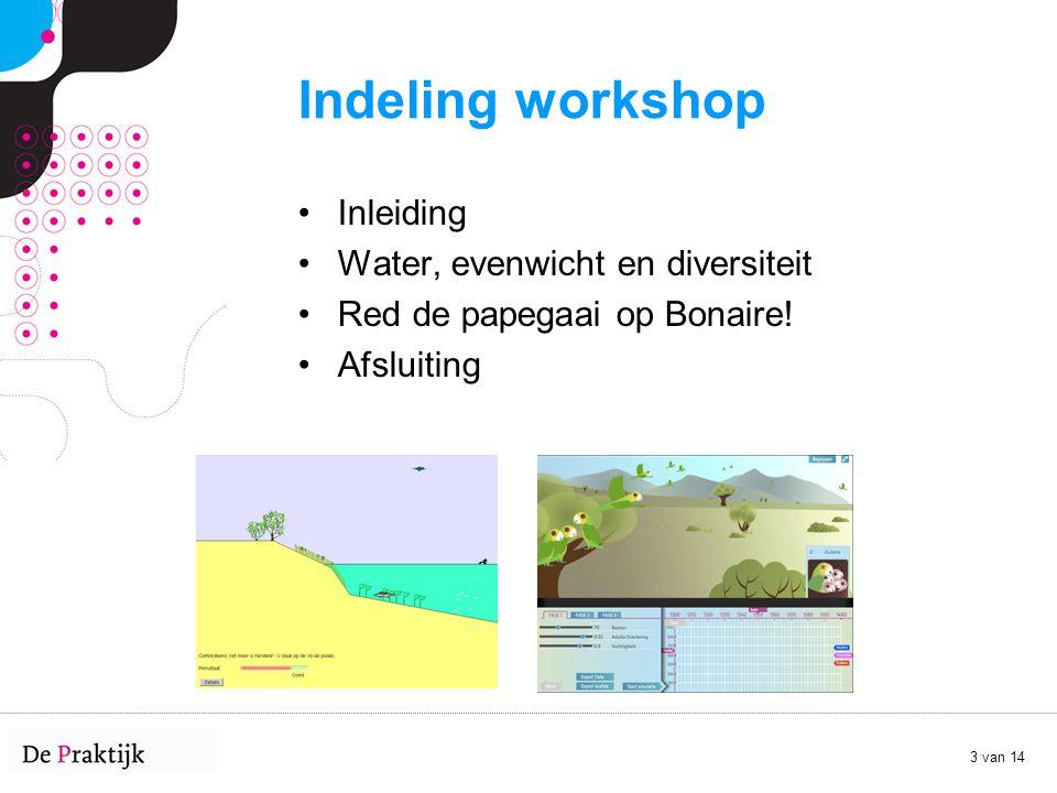 Indeling workshop Inleiding Water, evenwicht en diversiteit