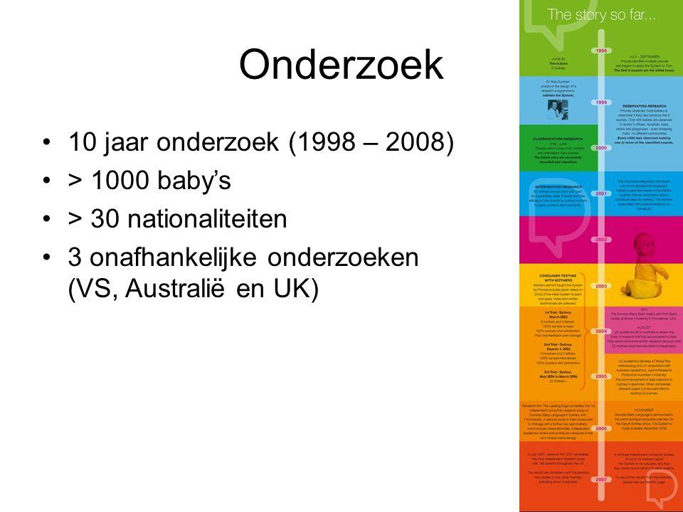 Onderzoek 10 jaar onderzoek (1998 – 2008) > 1000 baby's