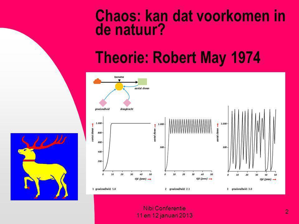 Chaos: kan dat voorkomen in de natuur Theorie: Robert May 1974
