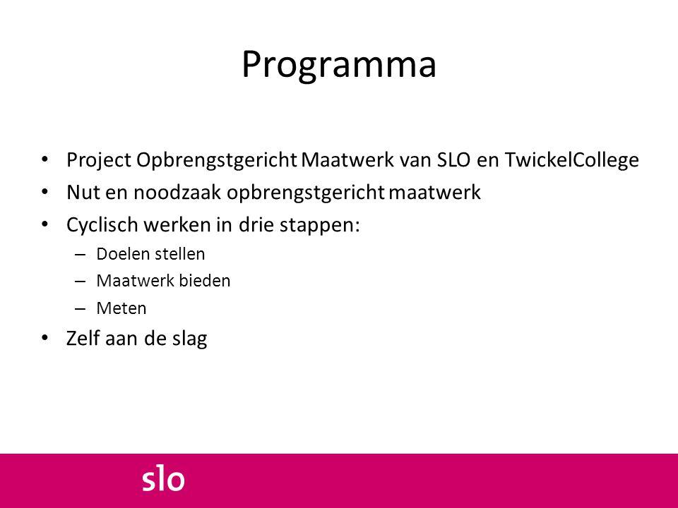 Programma Project Opbrengstgericht Maatwerk van SLO en TwickelCollege