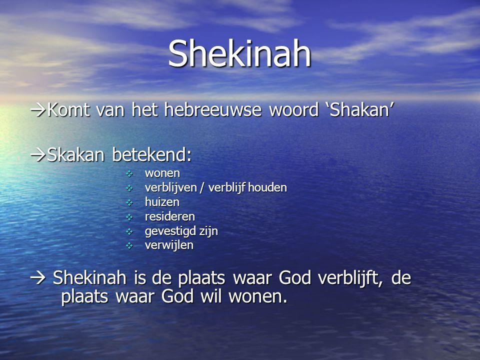 Shekinah Komt van het hebreeuwse woord 'Shakan' Skakan betekend: