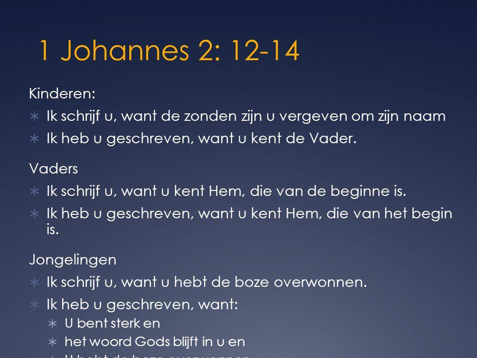 1 Johannes 2: 12-14 Kinderen: Ik schrijf u, want de zonden zijn u vergeven om zijn naam. Ik heb u geschreven, want u kent de Vader.