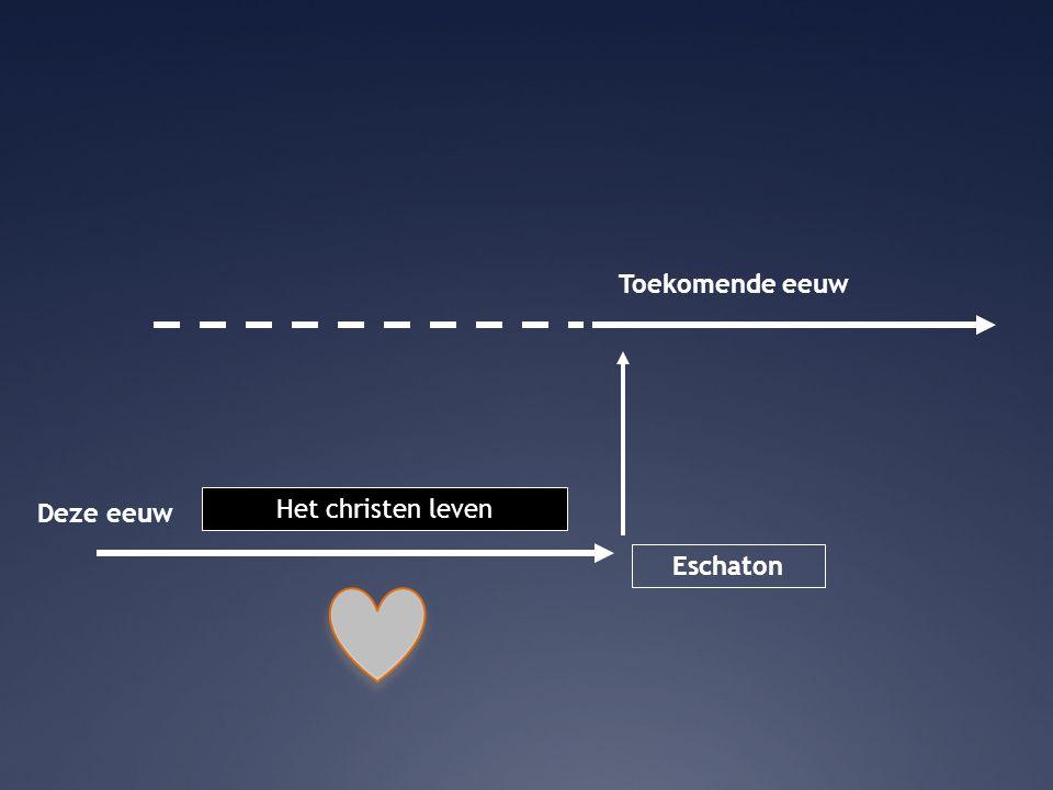 Toekomende eeuw Deze eeuw Het christen leven Eschaton