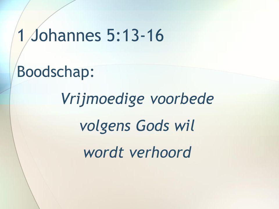 1 Johannes 5:13-16 Boodschap: Vrijmoedige voorbede volgens Gods wil