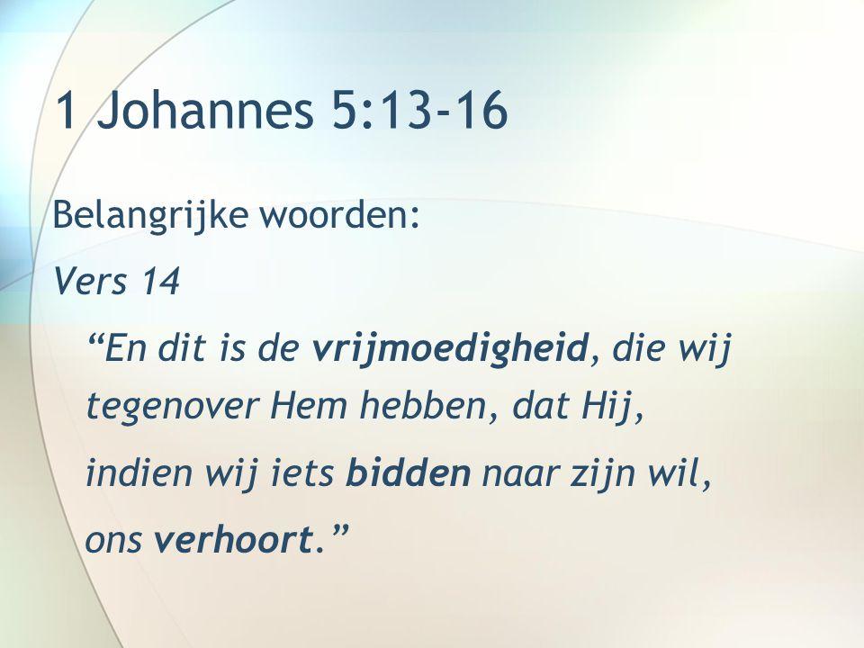 1 Johannes 5:13-16 Belangrijke woorden: Vers 14