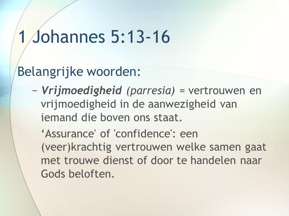 1 Johannes 5:13-16 Belangrijke woorden: