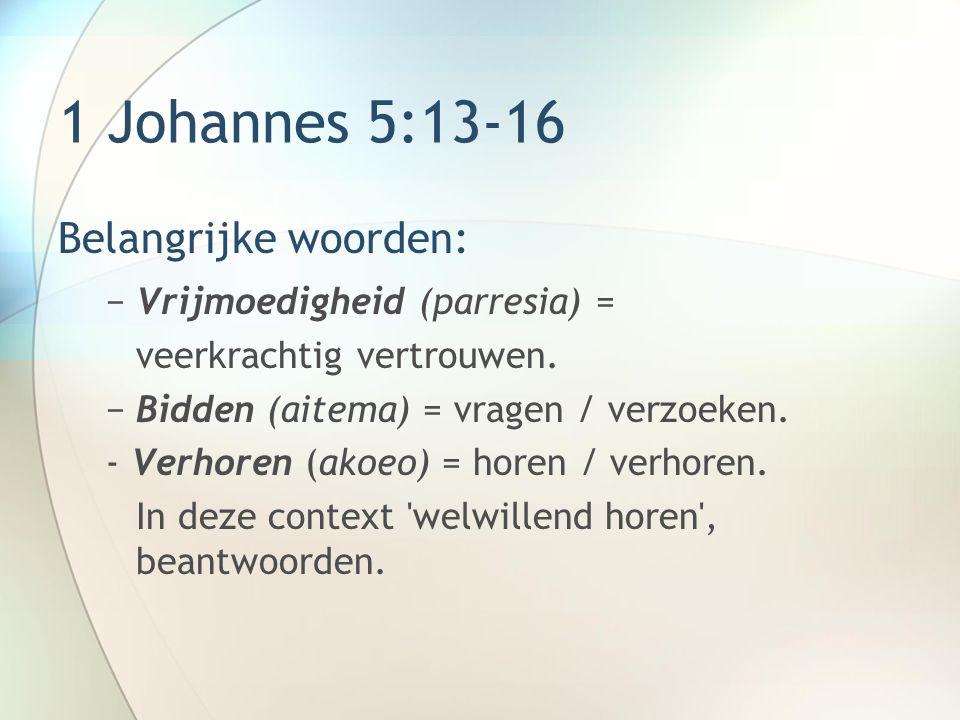 1 Johannes 5:13-16 Belangrijke woorden: Vrijmoedigheid (parresia) =