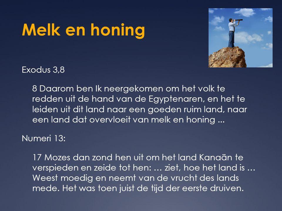 Melk en honing Exodus 3,8.