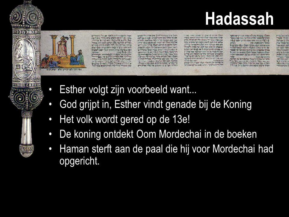 Hadassah Esther volgt zijn voorbeeld want...
