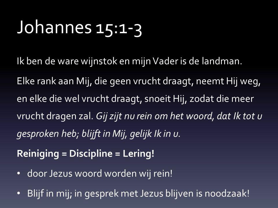 Johannes 15:1-3 Ik ben de ware wijnstok en mijn Vader is de landman.