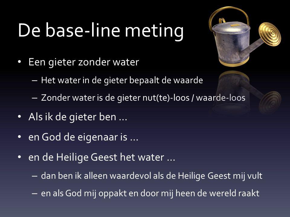De base-line meting Een gieter zonder water Als ik de gieter ben …