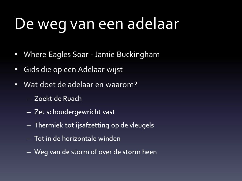 De weg van een adelaar Where Eagles Soar - Jamie Buckingham