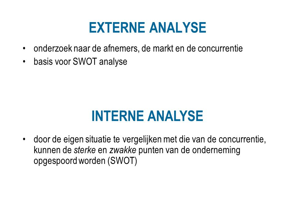 EXTERNE ANALYSE INTERNE ANALYSE