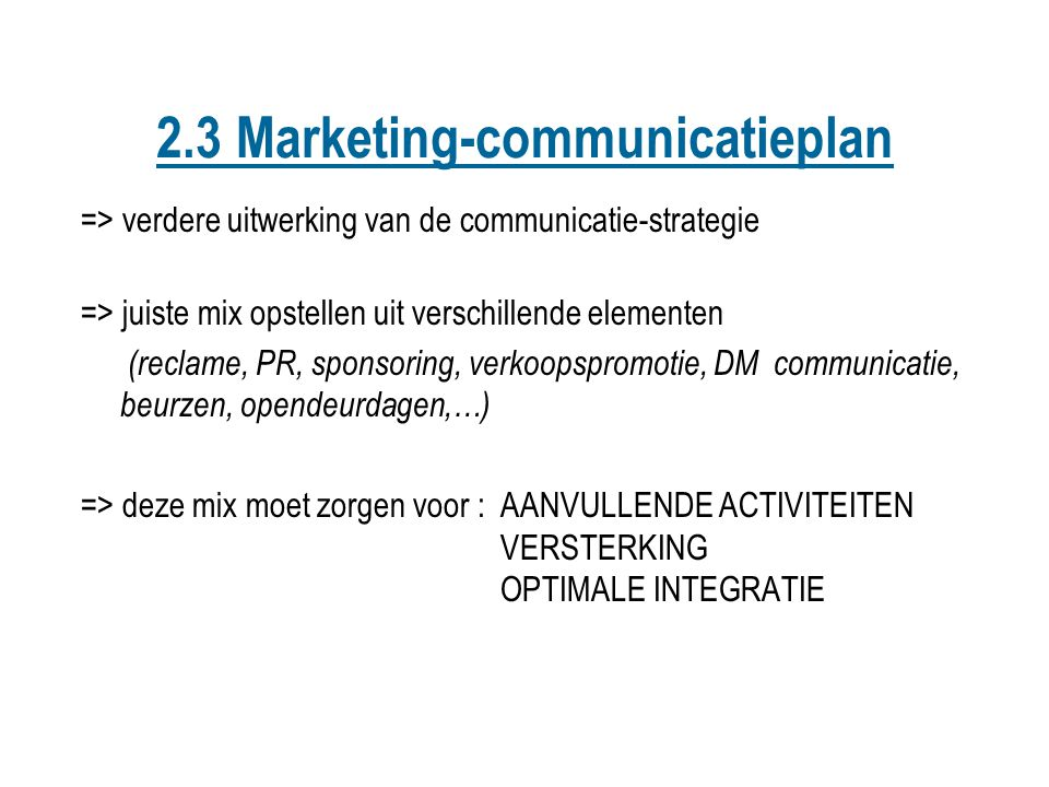 2.3 Marketing-communicatieplan