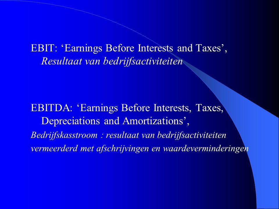 EBIT: 'Earnings Before Interests and Taxes', Resultaat van bedrijfsactiviteiten