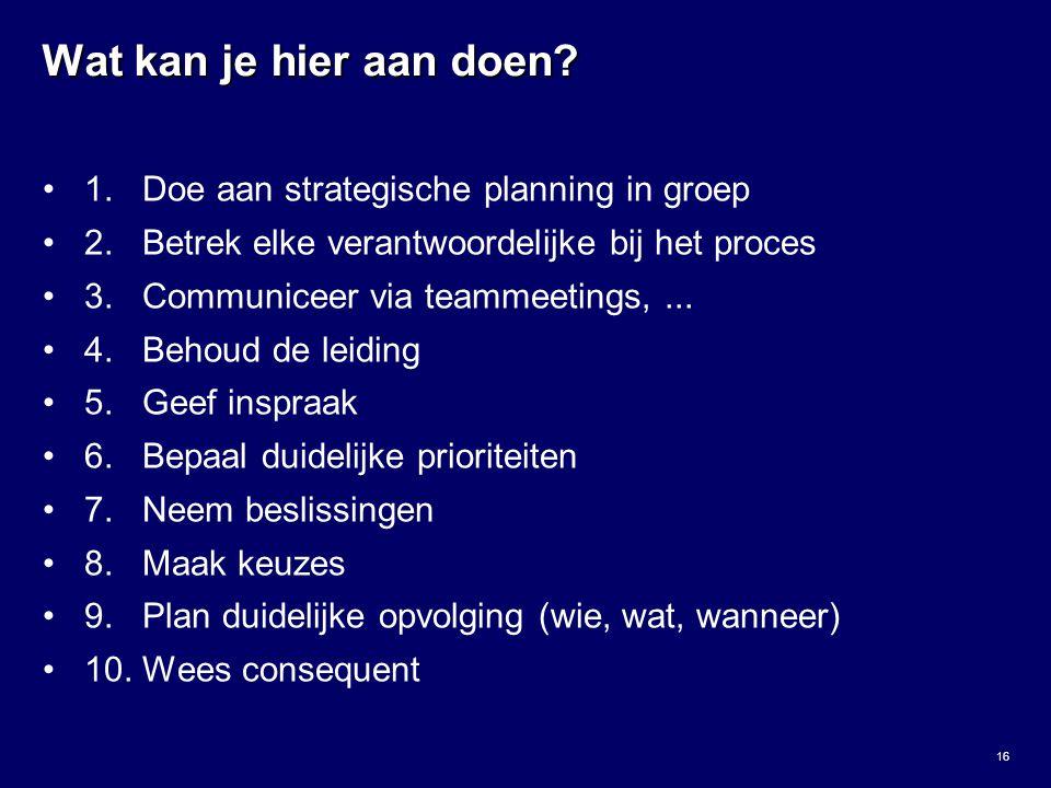 Wat kan je hier aan doen 1. Doe aan strategische planning in groep
